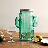 Homephile Cactus Ice Cold Mason Jar Beverage Drink Dispenser Glass One (1) Gallon Screw Lid with Easy Flow Spigot Wide Mouth Easy Filling for Outdoor, Parties & Daily Use