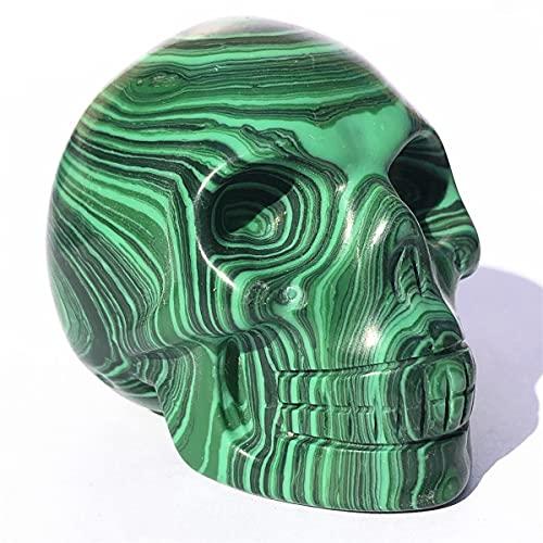 Anlingem 1pc 2'' Natural Clear Quartz Skull Crystal Skeleton Head Carved Skulls Mineral Samples Gem Reiki Healing (Malachite Skull) AL-MS