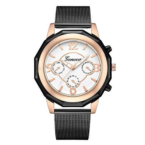 YTG Personalización Reloj de Las Mujeres (Color : BW)