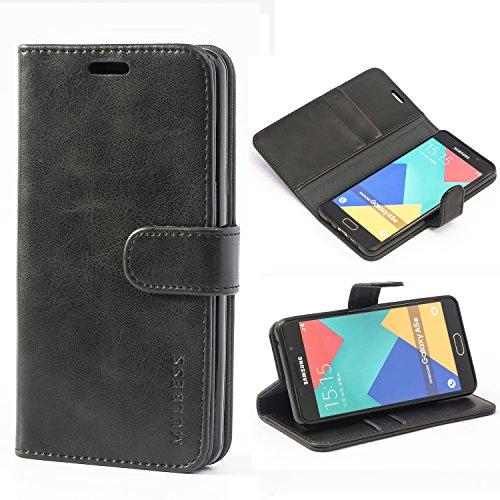 Mulbess Handyhülle für Samsung Galaxy A5 2016 Hülle, Leder Flip Case Schutzhülle für Samsung Galaxy A5 2016 Tasche, Schwarz