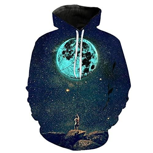 HGFHGD Creative Funny Universe Starry Sky Moon Sudadera con Capucha 3D suéter para Hombres y Mujeres suéter de Manga Larga para niños