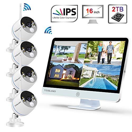 YESKAMO Wireless CCTV Camera System Outdoor [ Floodlight & Monitor & Audio]...