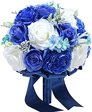 Abbie Home 10 inches Royal Blue Dahlia Bride Bouquets-Artificial Wedding Flower Real Touch Blooming White Rose Bouquet with Satin Ribbon Handle