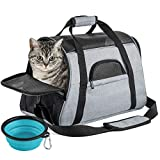 SOUNDY Pet Carrier for Cat and Dog, Portable Folding Pet Carrier Airline Approved, Suitable for Small Dogs, Puppies, and Medium-Sized Cats (Grey)