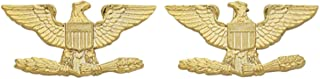COLONEL EAGLE GOLD UNIFORM COLLAR BRASS PINS INSIGNIA EMBLEM ARMY MILITARY POLICE, SMALL 1