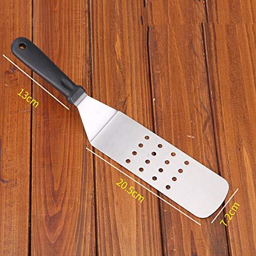 Keuken Teppanyaki Roestvrijstalen Steak Spatel Pizza Rauw Gebakken Schop Handgreep Cake Tool Driehoeksschop Pannenkoekenschop-Troffel met ronde kop en kunststof handvat_1