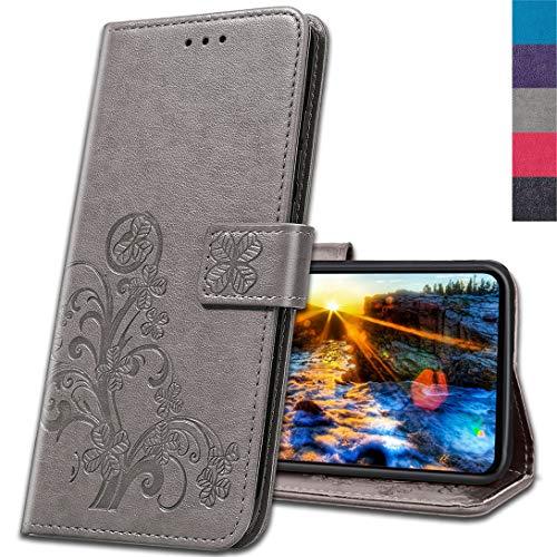 MRSTER Handyhülle für Motorola One Action Hülle, Schutzhüllen aus Klappetui mit Kreditkartenhaltern, Ständer, Magnetverschluss Tasche Kompatibel für Motorola One Action. Luck Clover Grey