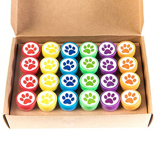 Huji Paw Print Stampers 24 Pieces Birthday Supplies Bag Accessories Toys Classroom Teachers Reward Activities for Children's Party Favors Birthday Parties School (Paw, 24 PCS)