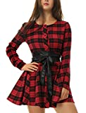 Allegra K Women's Plaids Long Sleeves Button Down Belted Party Mini A-Line Shirt Dress M Red