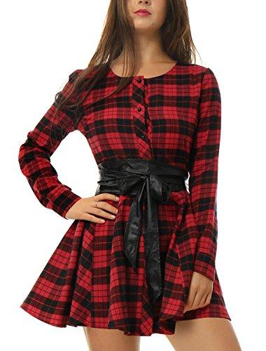 Allegra K Vestido Acampanado De Cuadros Mangas Largas con Cinturón Vestido Mini Camisero para Mujer Navidad Día De Los Reyes Magos Negro y Rojo M