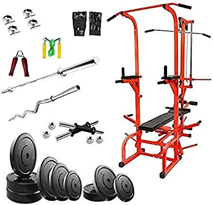 Rjkart ABS Tower in Red Color (Pipe Size 1.5 * 1.5 in INCH) Home Gym 20 in 1 Bench +Preacher+10 kg PVC Weight + 3 Ft Curl and 5 Ft Plain Rod+ Gym Accessories