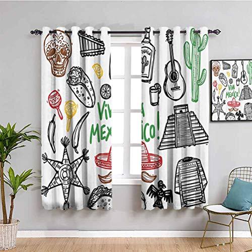 Mexikanische Dekorationen, extra langer Vorhang, Skizze, lateinisches Objekt mit Burritos Gitarre, Tequila Flasche, Pinata, Quetzal, Coati, Café-Vorhang, Multi B 160 x L 114 cm
