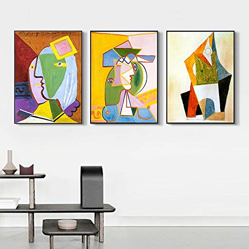 INVIN ART Framed Canvas Art Combo Painting 3 Pieces by Pablo Picasso Wall Art Series#24 Living Room Home Office Decorations(Black Slim Frame,20″x24″Each Piece)
