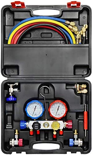 JIFETOR 4 Way AC Manifold Gauge Set HVAC Diagnostic Freon Charging Tool for Auto Household R404A product image