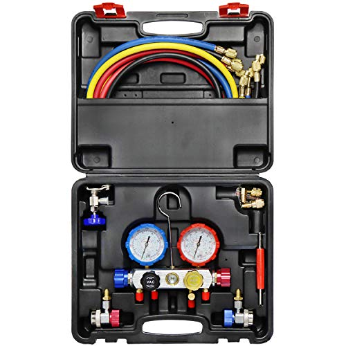 JIFETOR 4 Way AC Manifold Gauge Set, HVAC Diagnostic Freon Charging Tool for Auto Household R404A R134A R22 R410A, with 5FT Hose, Adjustable Quick Coupler, Adjustable Can Tap, Acme R410A Adapters