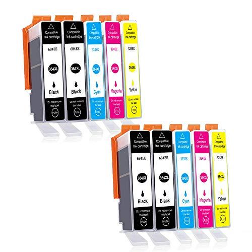 Teland 364XL - Cartuchos de tinta para HP 364 364-XL para HP Photosmart 5510, 5520, 5522, 5520, 6520, B8550, C5388, 7510, 7520, 5524, 6510, 5515, HP Officejet 4620, HP Deskjet 3070A (10 unidades)