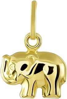 14K Yellow Gold Mini Elephant Charm Feng Shui Symbol Pendant