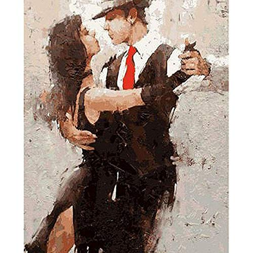 KKASD Tango Dance Draw by line by Numbers DIY Picture Adult Painting Atmosphere, Decoration, Decoration 40x50cm Mit Rahmen