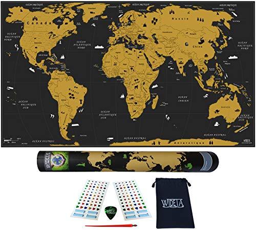 WIDETA Carte du monde à gratter Français, XXL (82 x 43 cm)/ Papier couché extra épais 300 g/m2, laminé avec un film protecteur/avec accessoires et tube cadeau