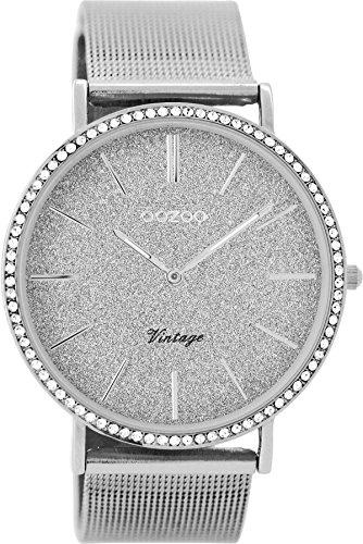 Oozoo C8891 Reloj de pulsera para mujer, 40mm, diseño vintage con brillantes, color plateado y purpurina gris