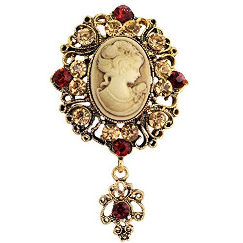 LUOEM Broche Broche de camafeo vintage Broche de regalo de navidad de cristal para mujer (dorado)
