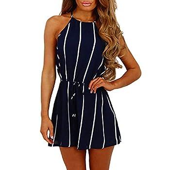 LISTHA Women Romper Jumpsuit Stripe Printing Off Shoulder Sleeveless Playsuit Dark Blue