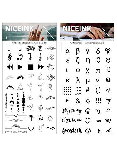 NICEINK Temporäre Fake Tattoos zum Aufkleben auf die Haut, Finger, Arm, Schulter, 83 Motive für Festivals, Parties, Selfies