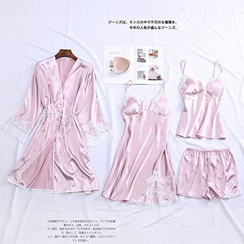YUHOOE Pijama Seda Mujer,Conjunto De 4 Piezas Traje De Boda Satén Traje De Dormir Lencería Íntima Mujeres Novia Dama De Honor Kimono Sexy Albornoz Vestido Casual Ropa De Dormir Ropa De Dormir Rosa