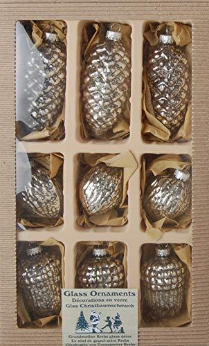 Dekohelden24 Lauschaer Christbaumschmuck - 9er Set in Silber - 50 Kugelaufhänger gratis
