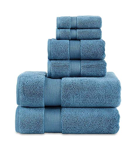 """703 GSM 6 Piece Towels Set, 100% Cotton, Zero Twist, Premium Hotel & Spa Quality, Highly Absorbent, 2 Bath Towels 30"""" x 54"""", 2 Hand Towel 16"""" x 28"""" and 2 Wash Cloth 12"""" x 12"""". Teal Color"""