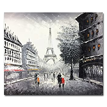 Muzagroo Art Hand Painted Paris Oil Painting Eiffel Tower Black Wall Art for Living Room Stretched Ready to Hang  Black