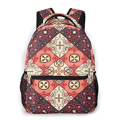 Laptop Rucksack Daypack Schulrucksack Backpack Portugiesische Fliesen Dekoratives Muster Azulejo, Business Taschen Freizeit Rucksack Arbeits Schultasche,für Herren Männer Schüler Schule