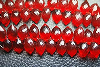 Jewel Beads Natural Beautiful jewellery 30 Pcs,Superb-Finest Quality,Ruby Red Quartz Faceted Dew Drops Shape Briolettes,11-12MM sizeCode:- JBB-38350