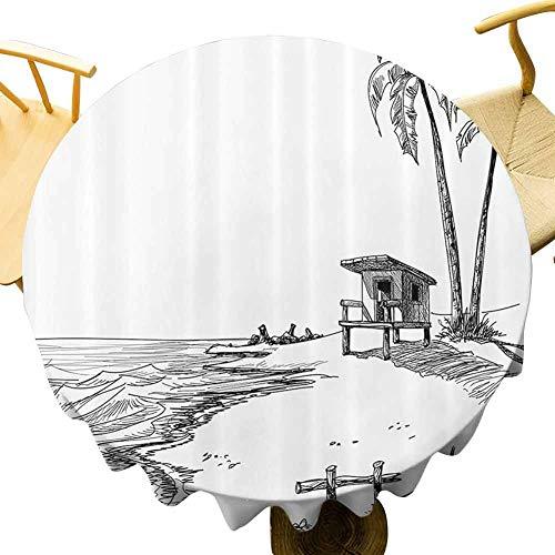 Apartment Decor Collection Mantel redondo moderno esbozado figura de verano playa con palmeras y soporte de salvavidas concepto paisaje marino uso diario negro blanco diámetro 47 pulgadas