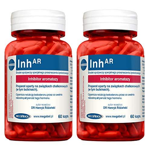 MEGABOL Inh-AR | Aromatasehemmer | Östrogenblocker | Testosteron-Booster für Männer | Hormonunterstützung | Anabole Pillen für Muskelwachstum (120 Kapseln)