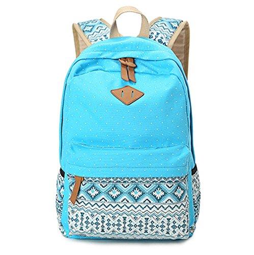 Sac à dos en toile Sac d'école Sac porté épaule - Pour Voyages, scolaire, loisirs -Cartable en toile-Bleu