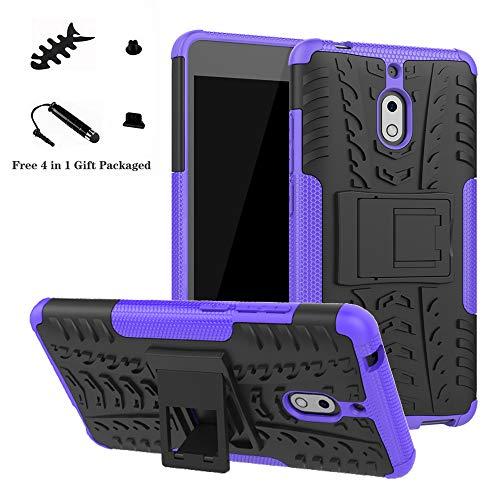 LiuShan Nokia 2.1 Hülle, Dual Layer Hybrid Handyhülle Drop Resistance Handys Schutz Hülle mit Ständer für Nokia 2.1 (Not fit Nokia 3.1) Smartphone,Lila