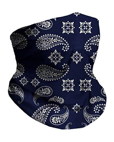 Navy Blue Paisley Breathable Neck Gaiter Masks Half Face Cover Wrap Cool Mask Bandana Festival Rave Balaclava Scarf INTO THE AM