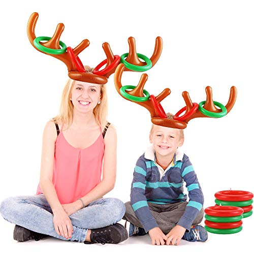 Juego de asta de reno, juegos de Navidad inflables Thinbal con 2 gorro de reno inflable y 12 anillos de lanzamiento de anillo de reno, divertidos juegos de fiesta de Navidad para niños, familias