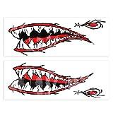 Alomejor1 Calcomanías de Boca de Dientes de tiburón Impermeable y Duradero Divertido Juego de Pegatinas de PVC para Kayaks Canoas Barcos de Pesca