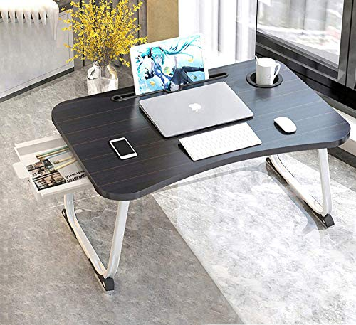 Laptop Table for Bed, XXL Foldable Laptop Tray with Cup Holder, Portable Laptop Desk with Storage Drawer, Ergonomic Standing Laptop Tray in Bed/Couch/Sofa/Office(70x48x28cm)