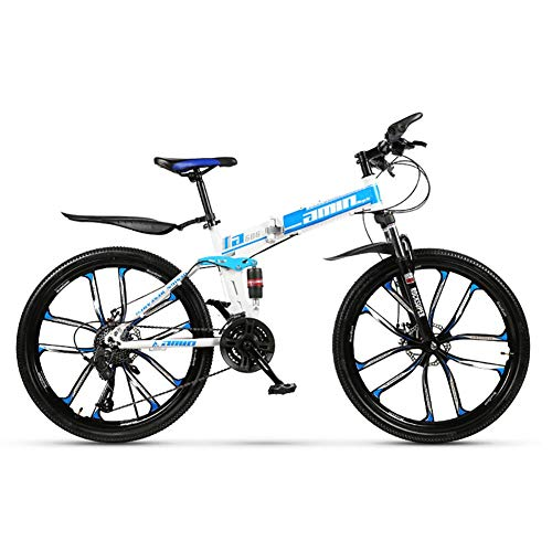 SCYDAO Adult Foldable Mountain Bike, 26 Inch 21/24/27/30 Speed Double Shock Absorption Double Disc Brake, Trail Bike Folding Outroad Bicycles, Full Suspension Mountain Bike,Blue,24 Speed