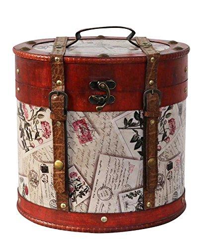 aubaho Hutkoffer 28cm Hutschachtel Hutbox Holz Antik-Stil Hut Box Schachtel Koffer Deko