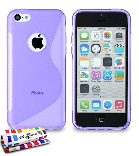 Carcasa Flexible Ultra-Slim APPLE IPHONE 5C ['Le S' Premium] [Violeta] de MUZZANO + ESTILETE y PAÑO MUZZANO REGALADOS - La Protección Antigolpes ULTIMA, ELEGANTE Y DURADERA para su APPLE IPHONE 5C