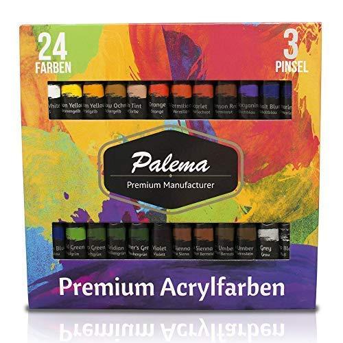 Acryl-Farben-Set von Palema® - 24 hochwertige und pigmentreiche Acrylfarben - 3 Pinsel GRATIS - geruchsneutral und Nicht-toxisch - vielfältig einsetzbar