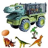 BASOYO El juego de transportador de excavadora de coche de juguete de dinosaurio incluye figuras de dinosaurio mini coche de carreras, señales de carretera para niños
