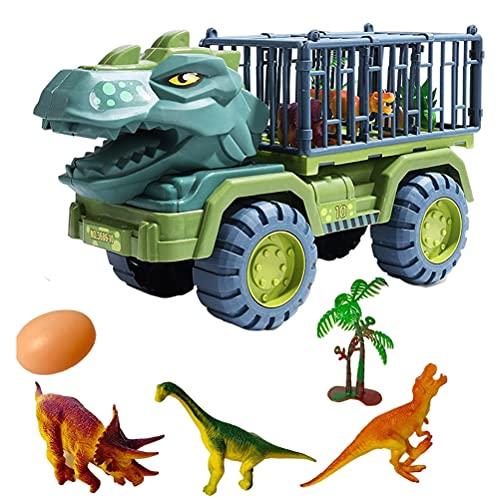 Dino Truck Toys Car Set, Dinosaur Transport Carrier Truck Car,Tyrannosaurus Transport Carrier Toys Set with Containment Box and 3 Dinosaur Toys, Egg & Tree Dinosaur Car Toys for Boys Grils-Ideal Gift