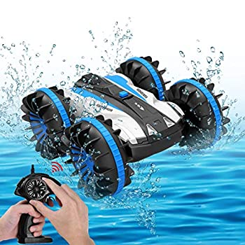 Seckton Toys for 5-10 Year Old Boys Amphibious RC Car for Kids 2.4 GHz Remote Control Boat Waterproof RC Monster Truck Stunt Car 4WD Remote Control Vehicle Girls All Terrain Christmas Birthday Gifts