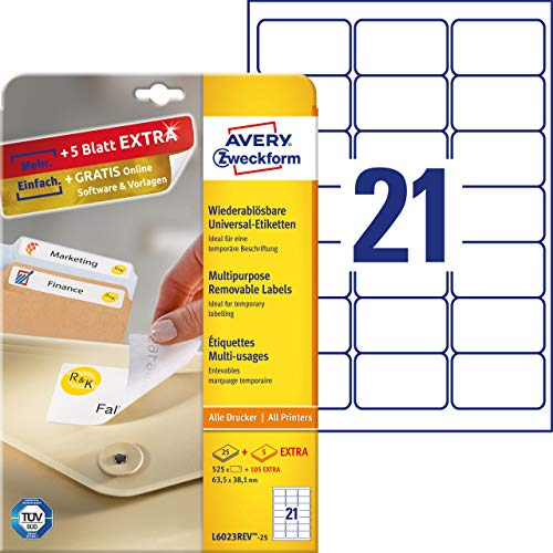 AVERY Zweckform L6023REV-25 Universal Etiketten (525 plus 105 Klebeetiketten extra, 63,5x38,1mm auf A4, wieder rückstandsfrei ablösbar/abziehbar, bedruckbar, selbstklebende Aufkleber) 30 Blatt, weiß
