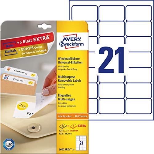 AVERY Zweckform L6023REV-25 Universal-Etiketten (63,5 x 38,1mm auf DIN A4, wieder rückstandsfrei ablösbar, bedruckbar, selbstklebend, 525 Klebeetiketten Plus 105 Etiketten extra, 30 Blatt) weiß